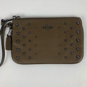 COACH Brown Pebbled Leather Wristlet Stud Accents